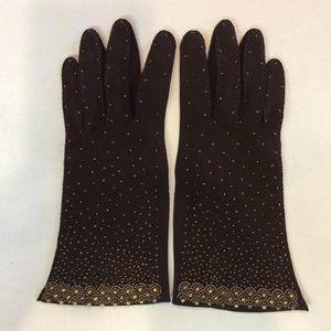 Handmade Beaded Brown Gloves Size 7 1/2